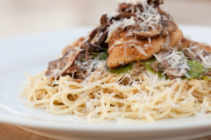 Marsala & mushroom sauce seeps into the chicken and pasta