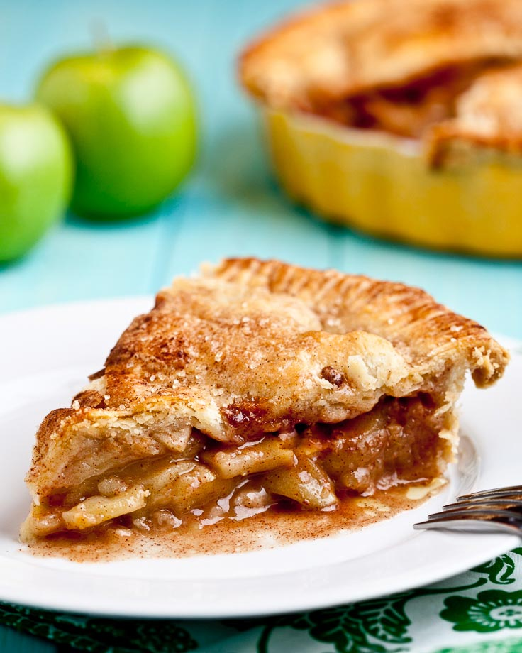 apple pie slice on a white plate