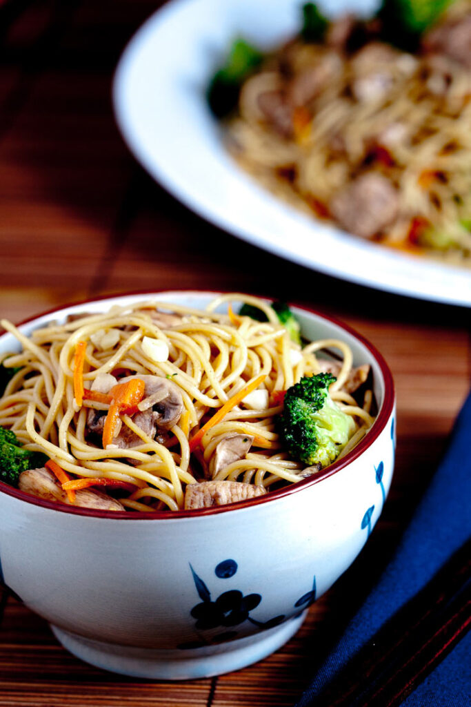 Chicken Chow Mein with Vegetables In a bowl and plate