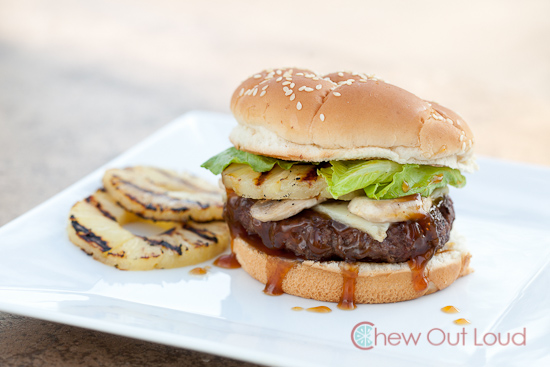Hawaiian Burger: Grilled pineapples, juicy beef, teriyaki sauce, on sesame bun