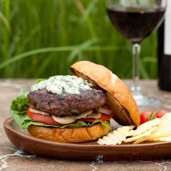 Cabernet Burgers with Blue Cheese