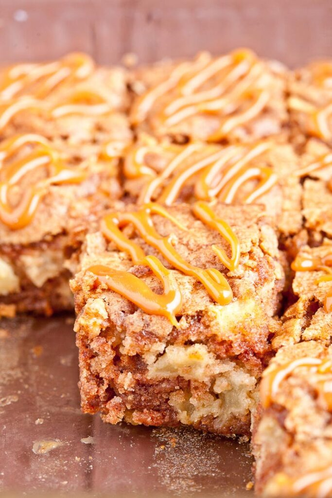Apple Cake with Caramel Drizzle squares