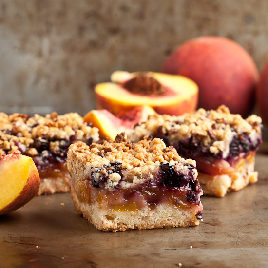 Peach and blueberry pie bars