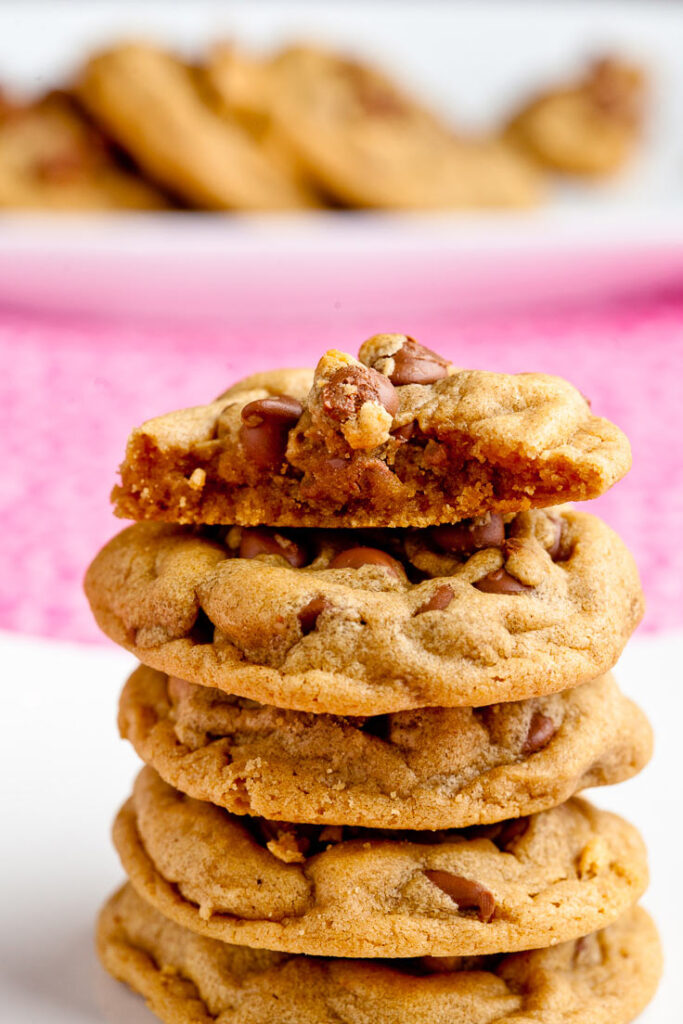 Peanut Butter Chocolate Chip Cookies stacked