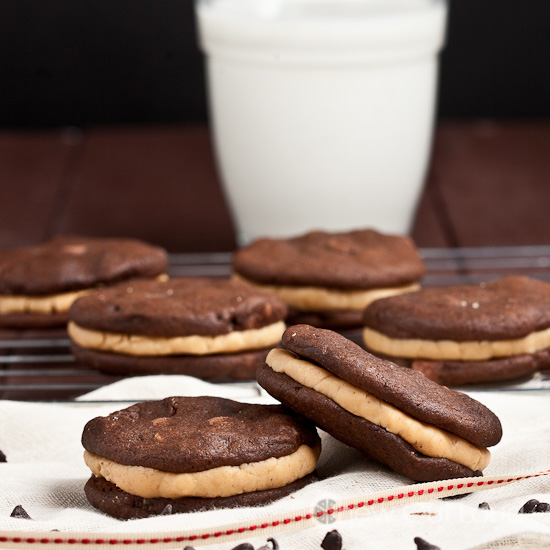 Fudge Chocolate Peanut Butter Sandwich Cookies