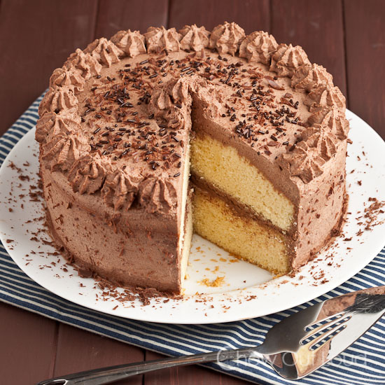 Tender Yellow Cake with Chocolate Whipped Cream Frosting Chew Out Loud