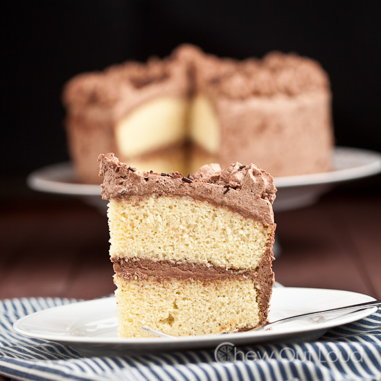 Tender Yellow cake Chocolate Whipped Frosting