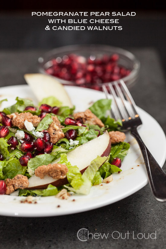 This pomegranate and pear salad with blue cheese is phenomenal. If you ...