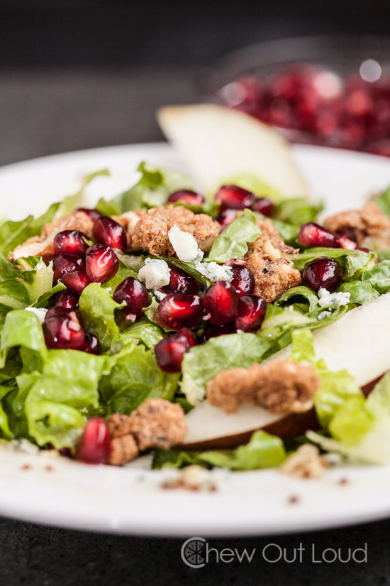 pomegranate and pear salad with blue