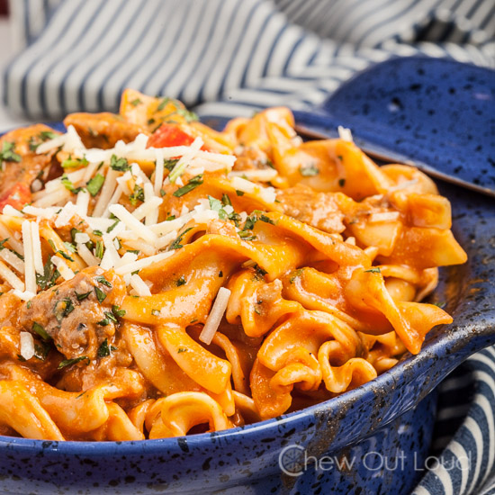 Red Pepper and Sausage Pasta