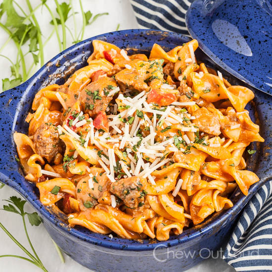 Roasted Red Pepper Sausage Pasta