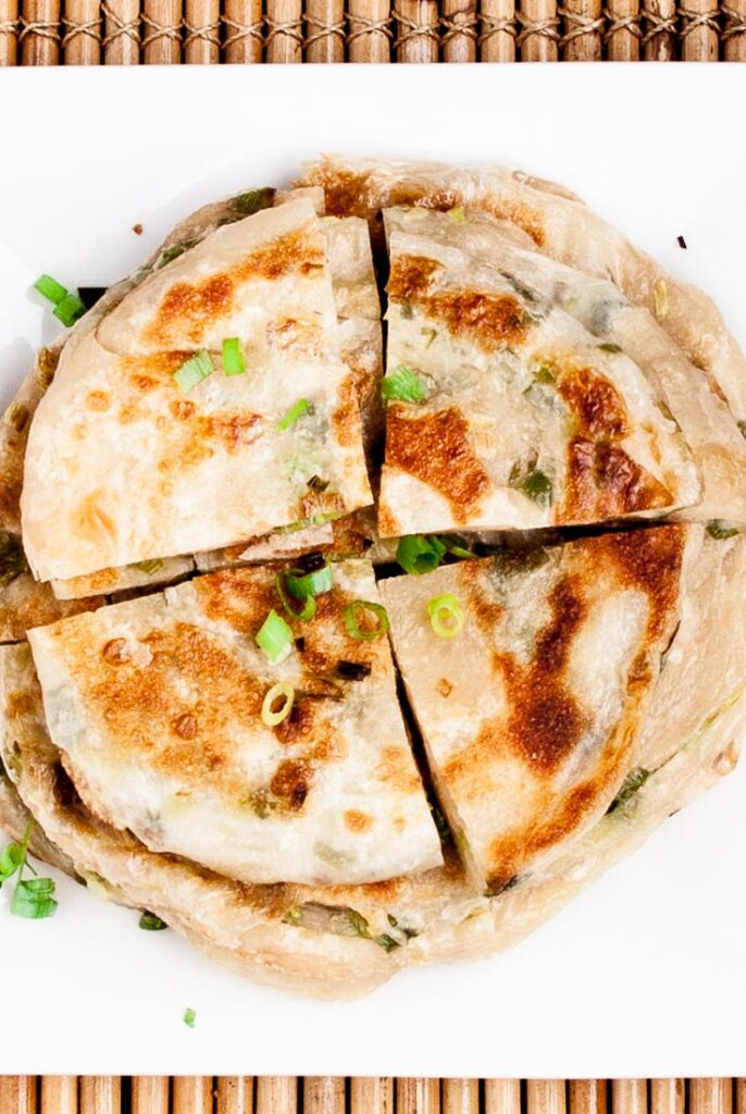 scallion pancakes sliced
