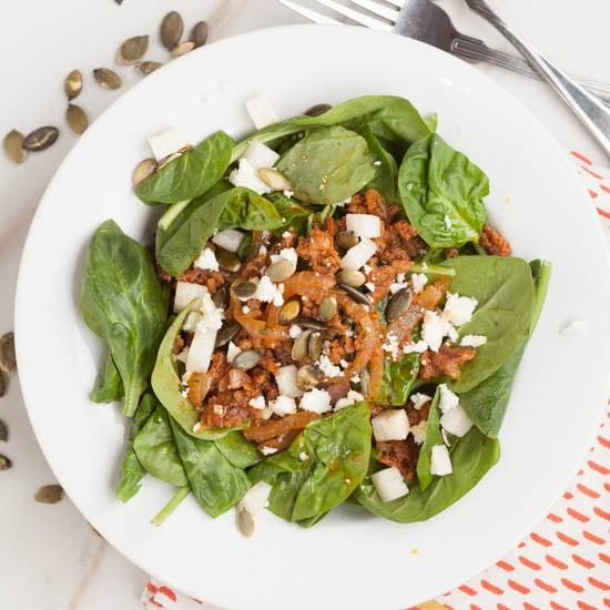 Warm Chorizo Spinach salad
