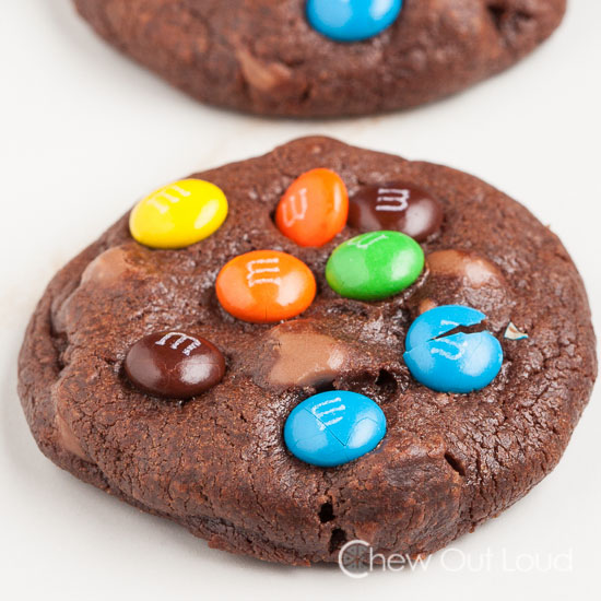 Triple Chocolate Chewy M&M cookies