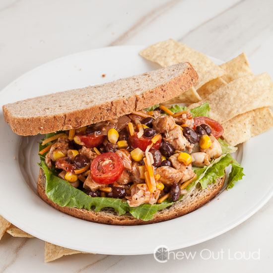 BBQ Chopped Chicken Salad Sandwich