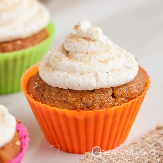 Pumpkin Ginger cupcakes with stabilized whipped cream