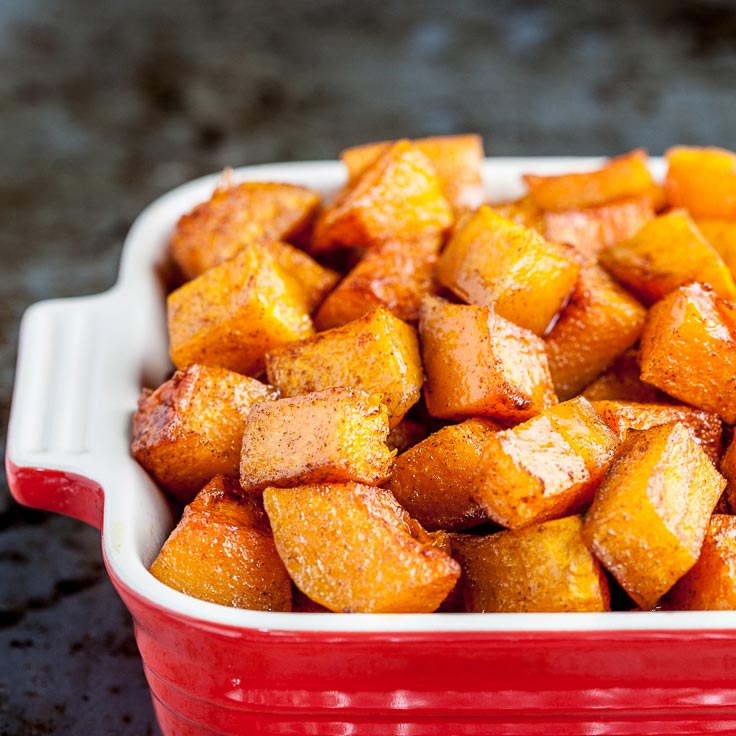 Cinnamon Roasted Butternut Squash in Red Dish