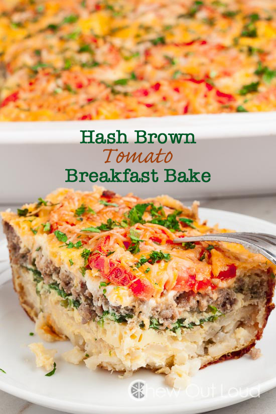 Hash Brown Tomato Breakfast Casserole, hash brown casserole, breakfast recipes, brunch recipes