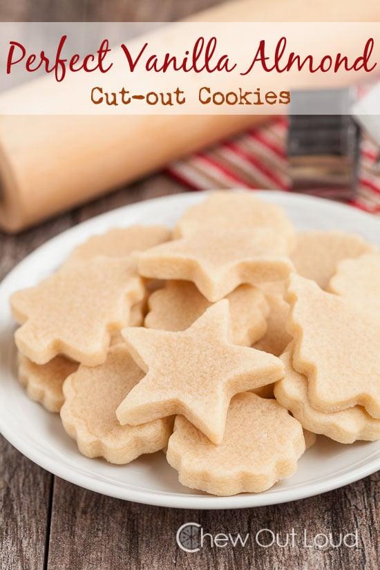 vanilla almond cookies, cut-out cookies, vanilla almond cut-out cookies