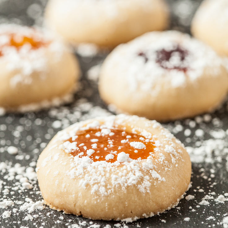 Buttery Jam Thumbprint Cookies