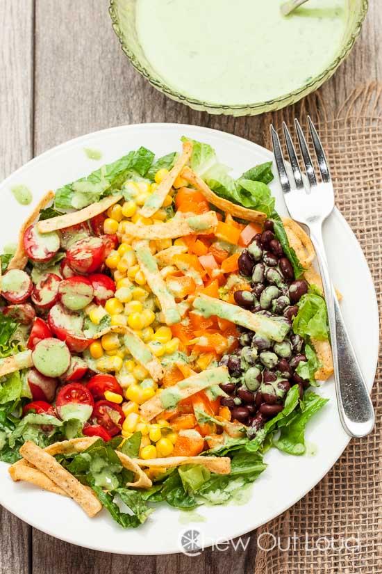 Southwestern Chopped Salad with Creamy Cilantro Lime Dressing