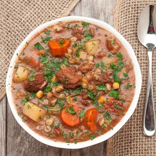 Slow Cooker Beef Vegetable Barley StewChew Out Loud