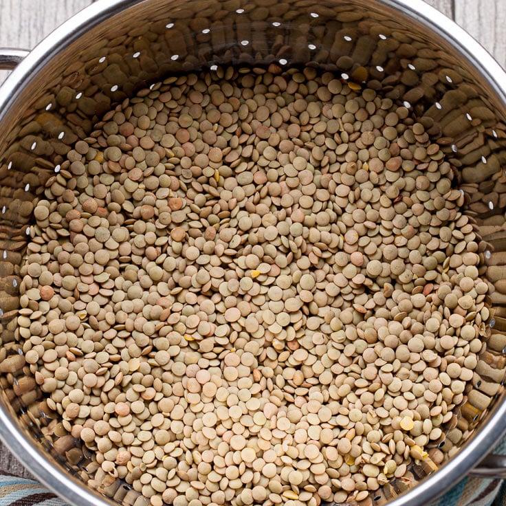 lentils in colander