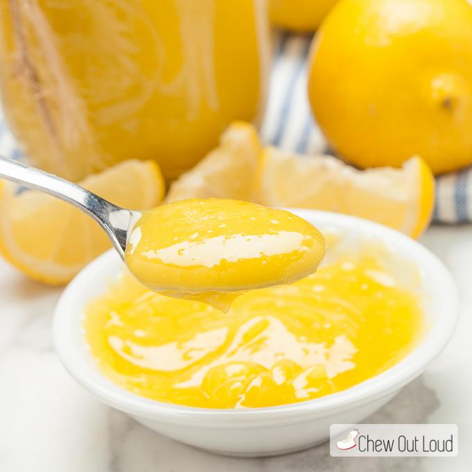 lemon curd on a spoon