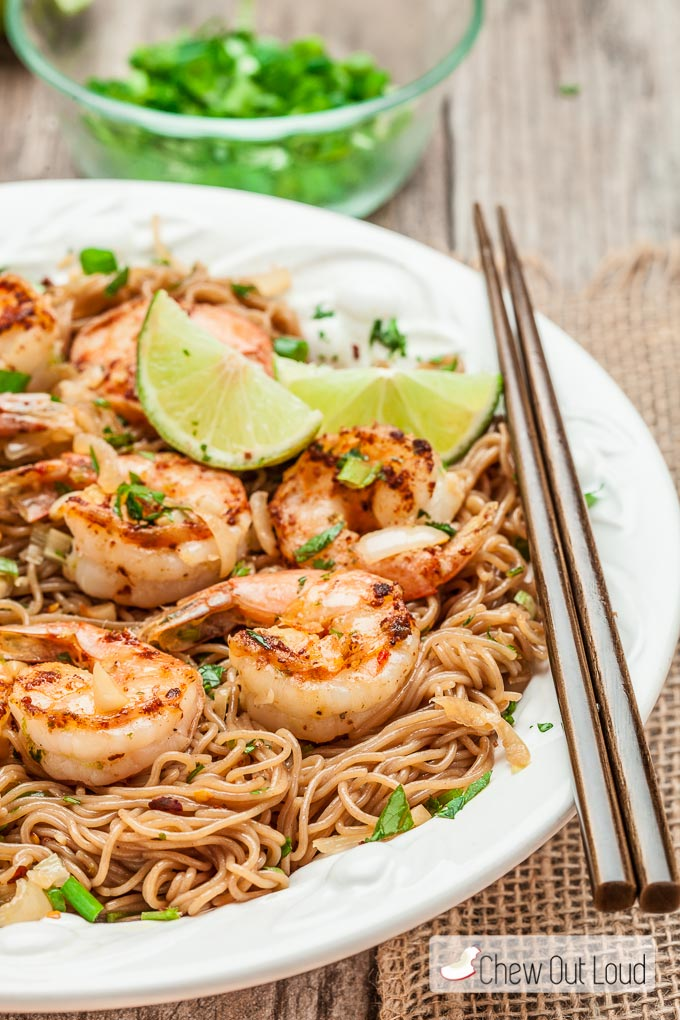 Soba Noodles with Grilled Shrimp and Cilantro 4