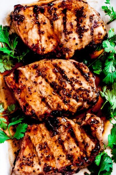 grilled pork chops, honey mustard pork, pork chops recipe