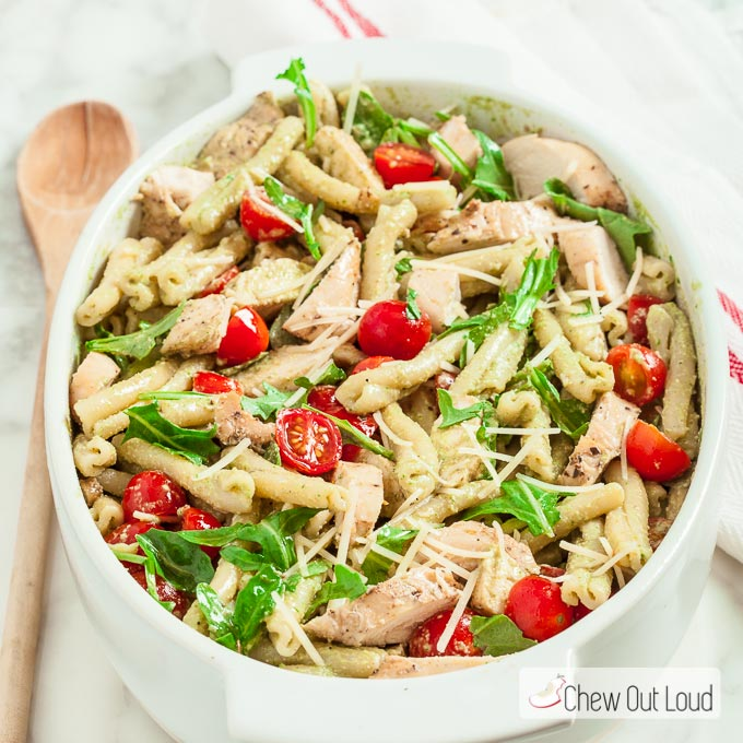 Pesto Pasta Salad with Grilled Chicken - Chew Out Loud