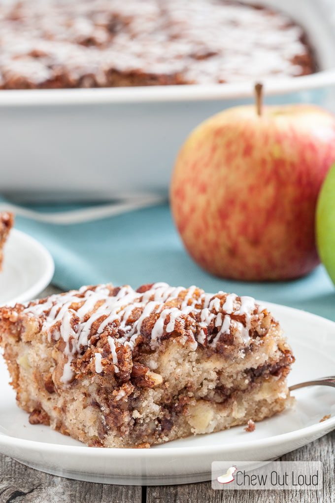 apple streusel coffee cake in a baking dish and plate