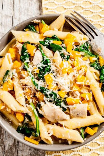 Butternut Squash Penne Pasta in a Bowl