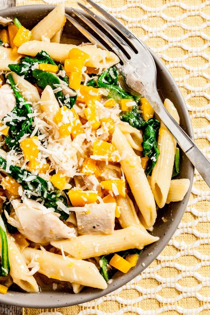 Butternut Squash Penne in a Bowl with Fork