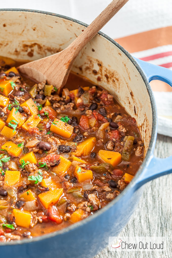 butternut squash chili, chili recipe, healthy chili