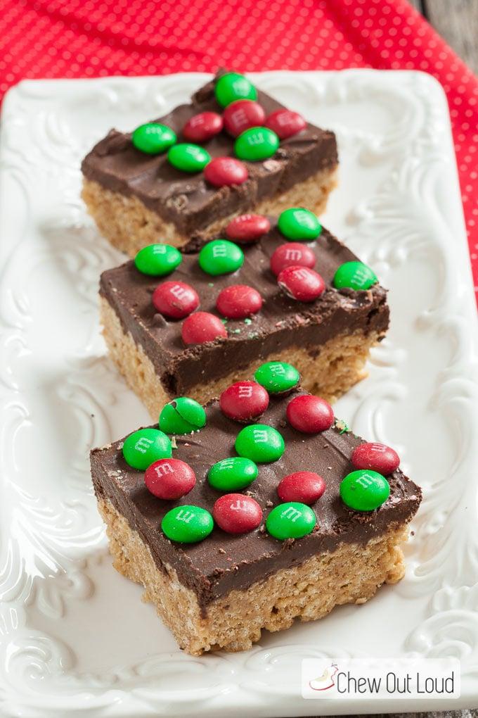 Chocolate Peanut Butter Krispy Bars - No Bake - Chew Out Loud