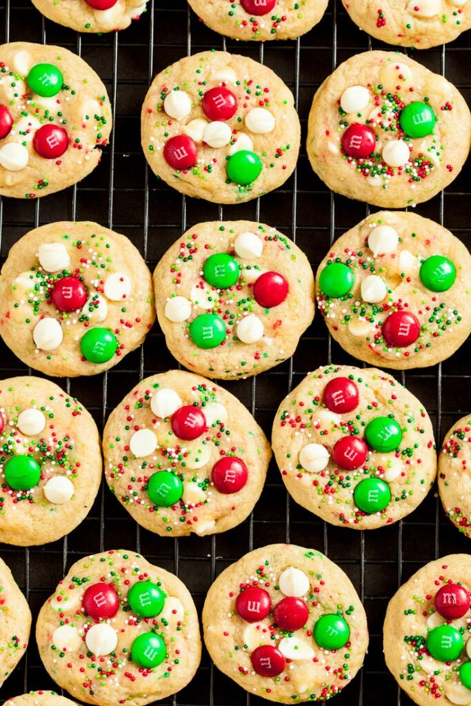 m&m cookies, christmas cookies, christmas m&m cookies