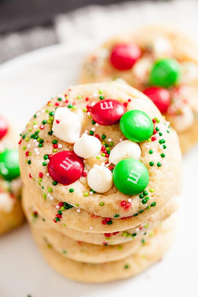 m&m cookies, christmas cookies, christmas m&m cookies