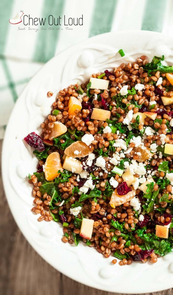 Apple cranberry orange kale salad with farro in a dish