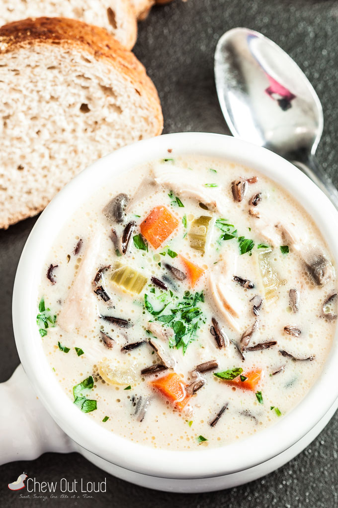 creamy chicken wild rice soup GF