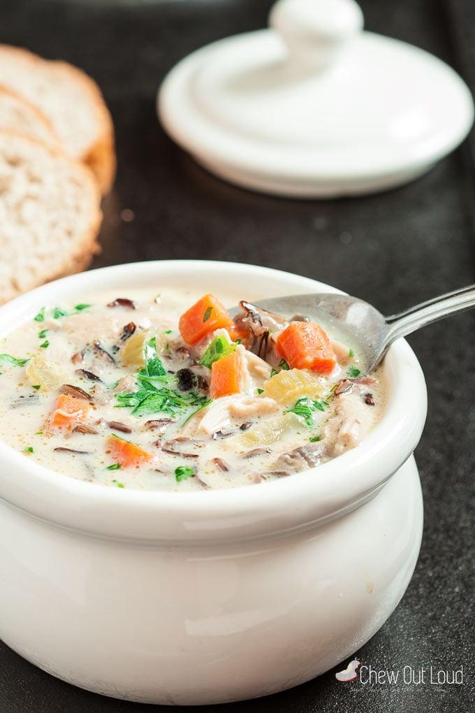 creamy wild rice chicken soup 3