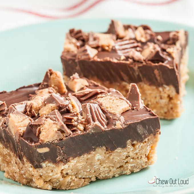chocolate peanut butter crispy bars 3