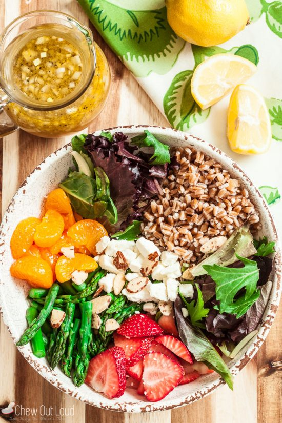 strawberry asparagus farro salad