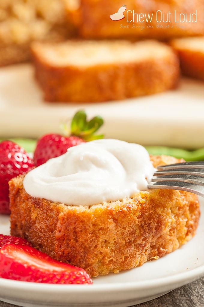 Yum Yum Cake slice with coconut whipped cream