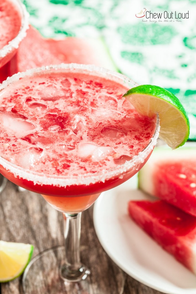 watermelon margarita in glass