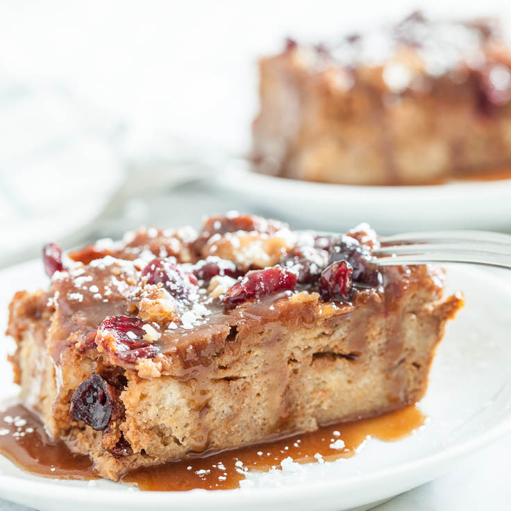 pumpkin bread pudding caramel sauce