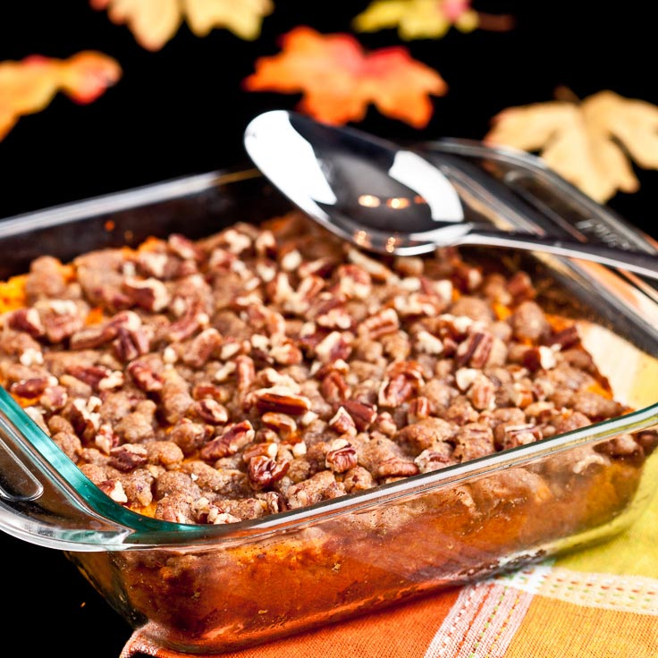 sweet potato casserole with pecan streusel in square dish