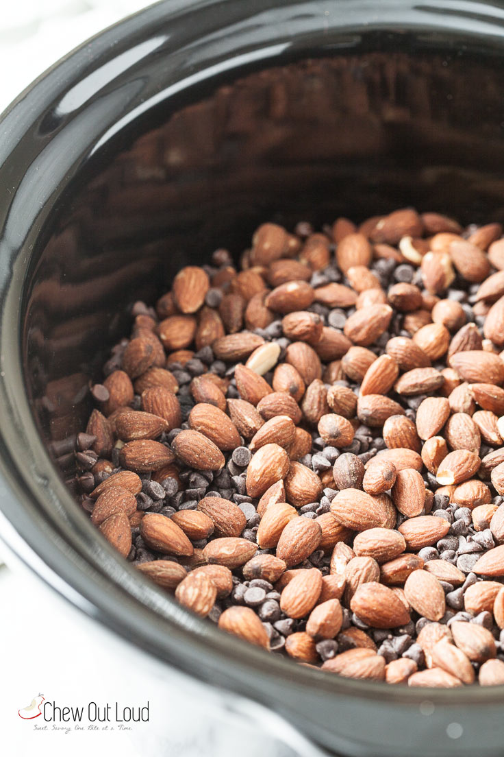 chocolate almond clusters in crock pot