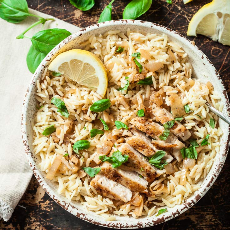 Lemon Basil Orzo With Chicken Chew Out Loud