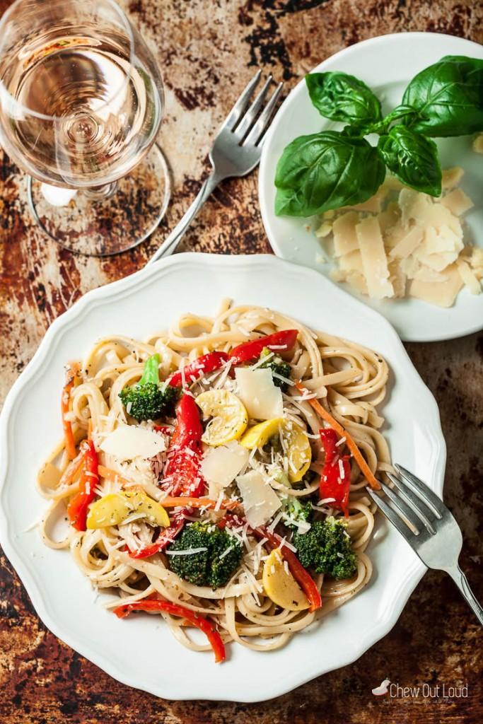 pasta primavera on a plate
